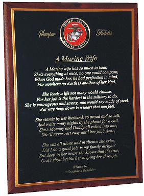 usmc wife plaque