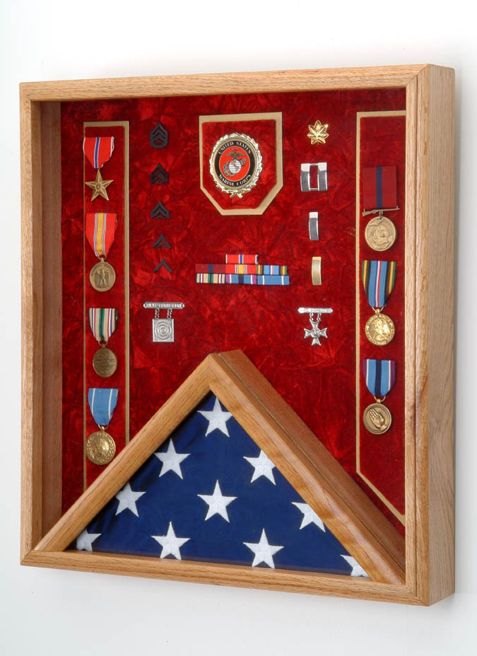 Black Selected Blue Military Award Shadow Box with Display Case for 3 x 5ft Flag or Red Felt in Black