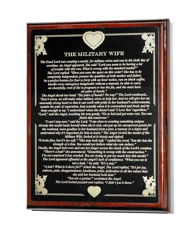 Military Wife Plaque